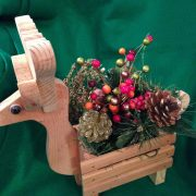 Reindeer Handmade Wood Planter Floral Holiday Centerpiece Decoration