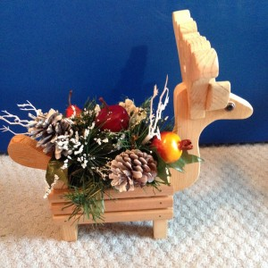 Reindeer Handmade Wood Planter Floral Holiday Centerpiece