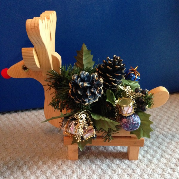 Reindeer Red nose Wood Planter Floral Holiday Centerpiece