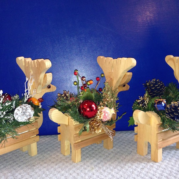 Reindeer Wood Planter Floral Holiday Centerpiece