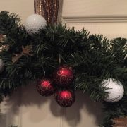 Golf Wreath Christmas Holiday Golfball Decoration-Red