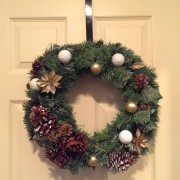 Golf Wreath Christmas Holiday Golfball Decoration Gift-Gold