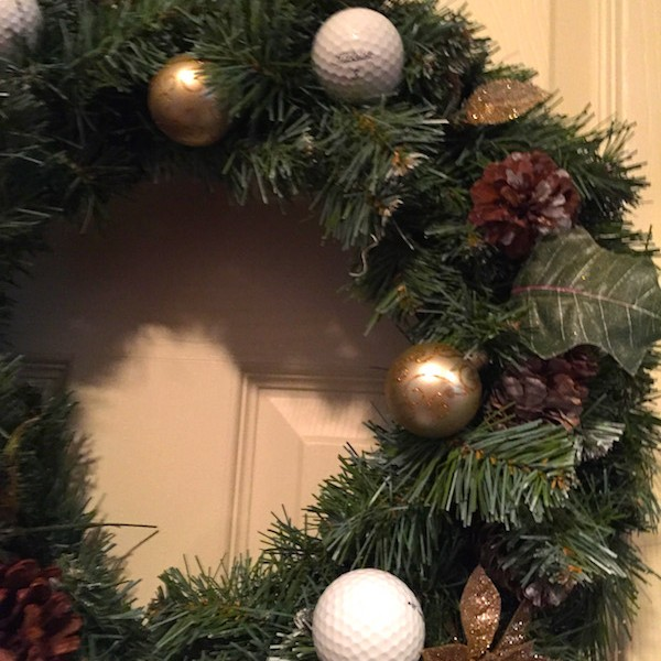Golf Wreath Christmas Holiday Golfball Decoration-Gold