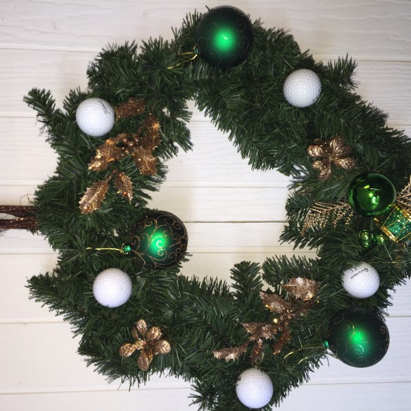 Golf Wreath Christmas Holiday Golfball Decor-Green