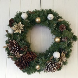 Golf Wreath Christmas Holiday Golfball Decor-Gold