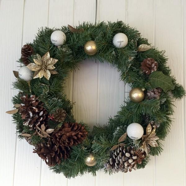 Golf Wreath Christmas Holiday Golfball Decor-Gold