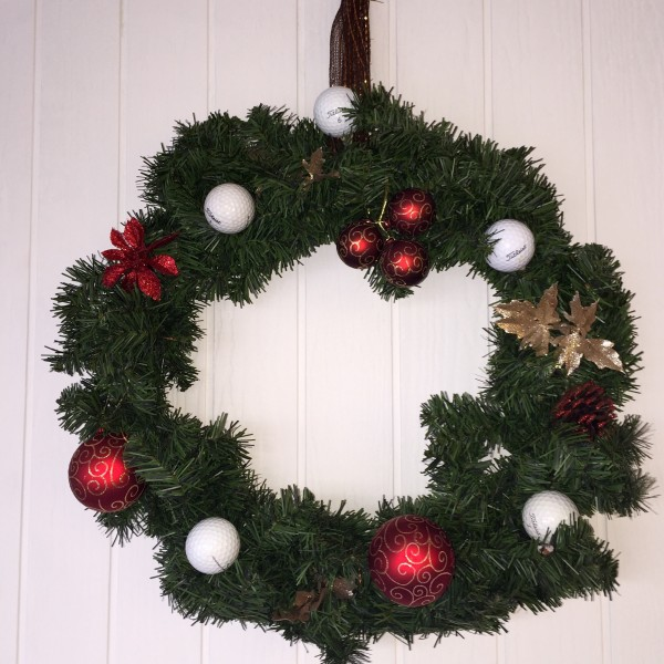 Golf Wreath Holiday Golfball Decor-Red