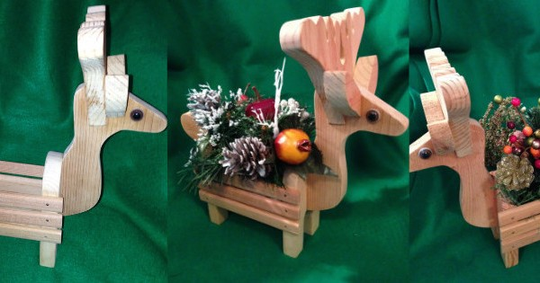 Reindeer handmade wood planter decoration floral centerpiece